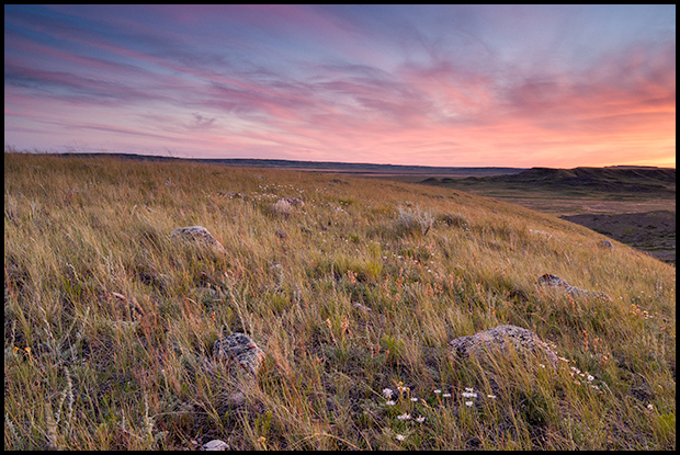 The sun sets over Grasslands National Park