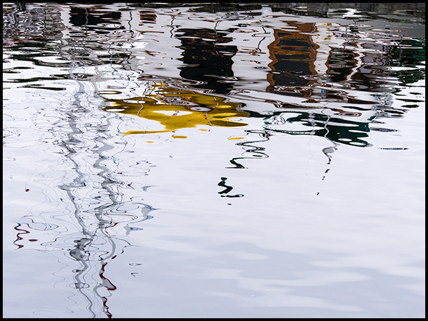 Rippled reflection of a boat, Olympus E-M5, Olympus 40-150mm f4.5-5.6 ©Leslie Degner