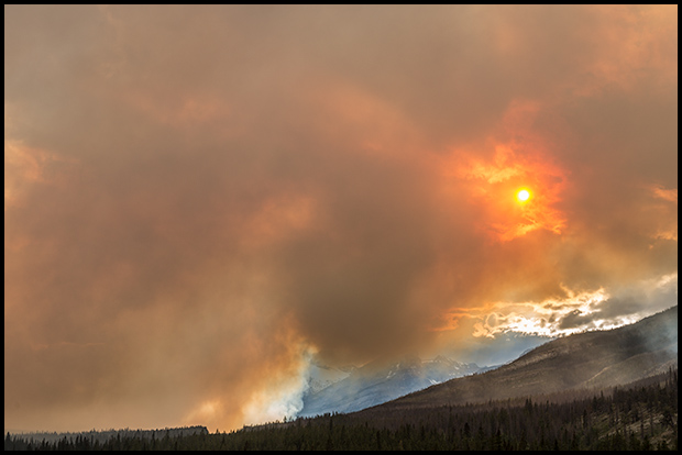 Sunset through the smoke, Spreading Creek Wildfire, Nikon D800E, Nikkor 24-70mm f/2.8 ©Mark Degner