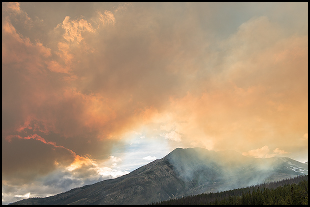 Smoke hanging in the valley, Spreading Creek Wildfire ©Mark Degner