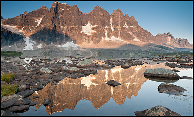 The Ramparts and Reflection in Amethyst Lake, Tonquin Valley, Nikon D300, Nikon 24mm f/3.8, ©Leslie Degner