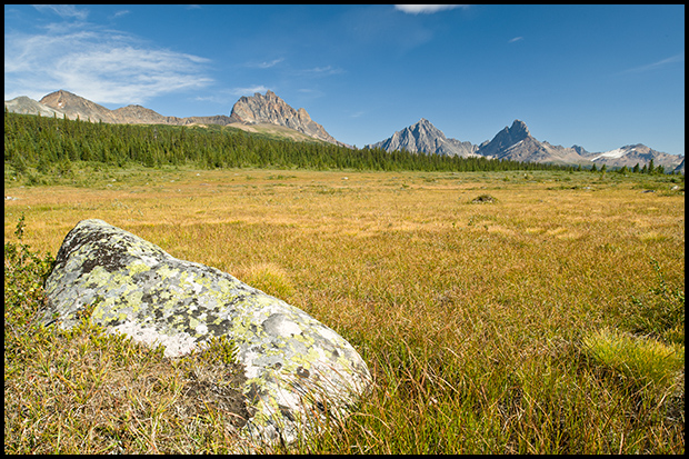Looking south in the Tonquin Valley, Nikon D700, Nikon 24mm f/3.5, ©Mark Degner