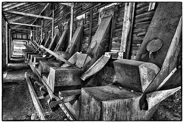 Control gates at the storage bins, Nordegg Mine, Nikon D300, Nikon 12-24mm f4