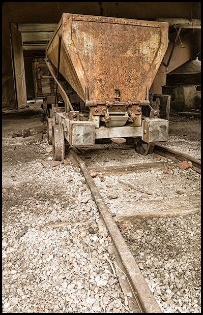 Coal car in the blacksmith shop, Nordegg Mine, Panasonic DMC-GX1, Lumix G Vario PZ 14-42mm f3.5-5.6, ©Leslie Degner