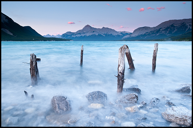 Waves crashing on shore, Abraham Lake, ©Mark Degner