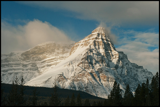 Mt. Chephren, winter sunrise, from Waterfowl Lakes, Icefields Parkway, Banff National Park, Alberta, Canada