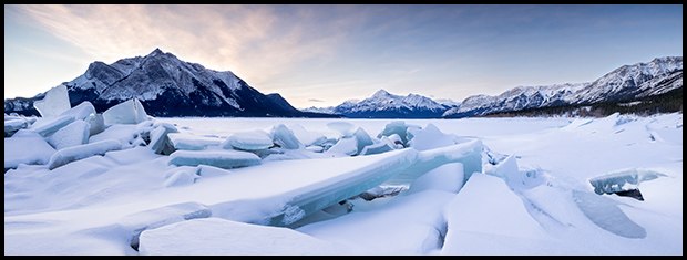 Slabs of ice at the edge of Abraham Lake