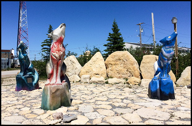 Painted Wolf Sculptures in Churchill, Manitoba