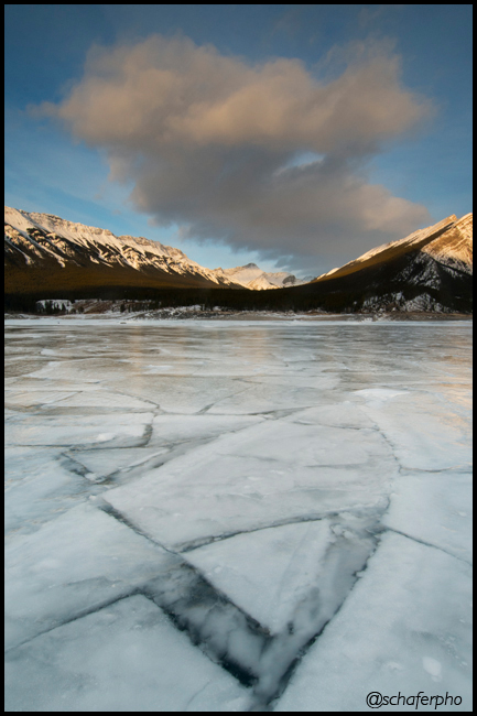 Winter ice patterns, Abraham Lake, Canadian Rockies, Alberta